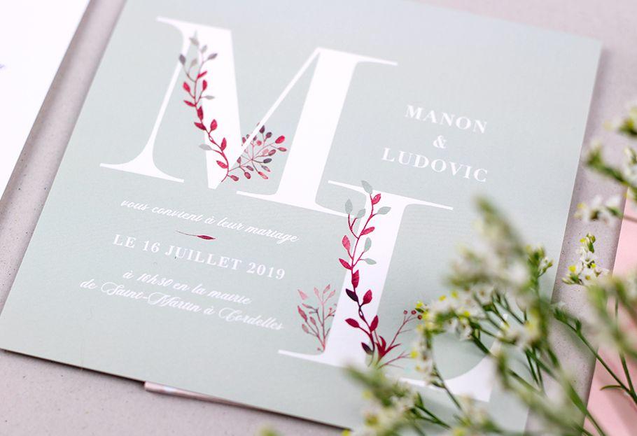 Faire part mariage champêtre – Les initiales