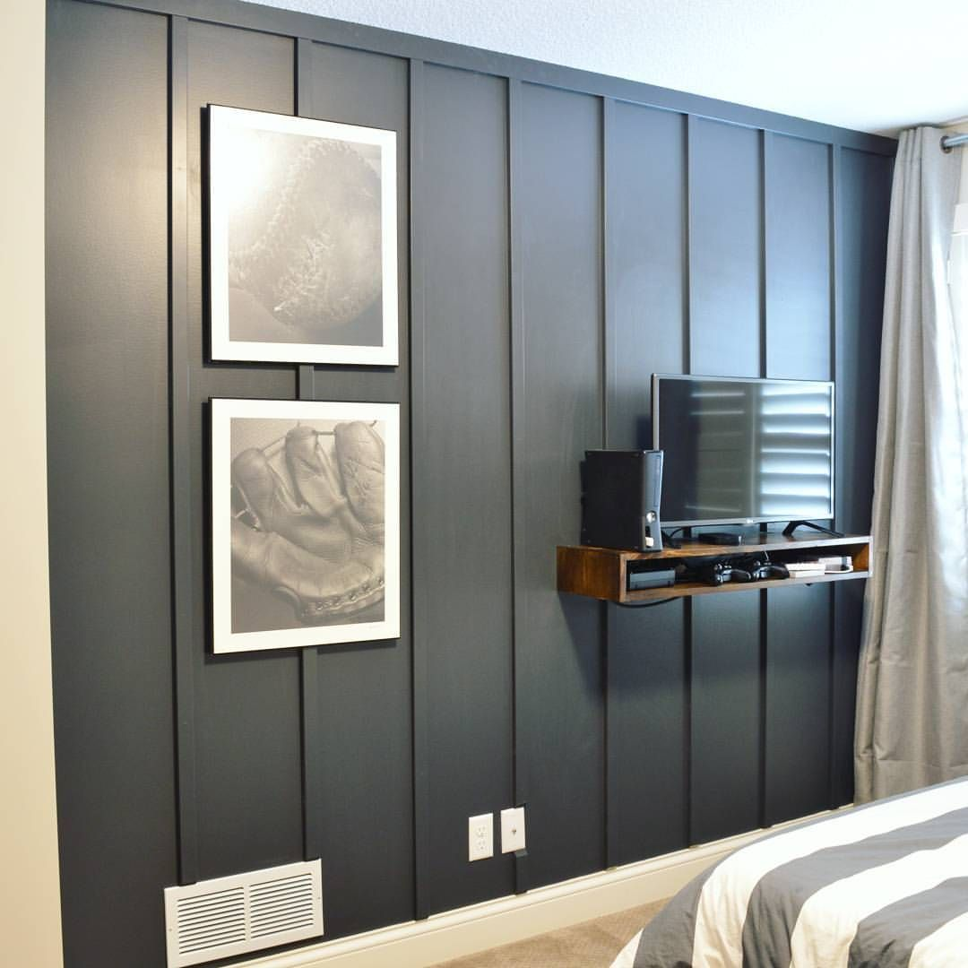 Finally Got The Boys Room Painted And Love This Black Board And Batten Accent Wall We Did We Also Made Boy Room Paint Boy Room Accent Wall Black Accent Walls