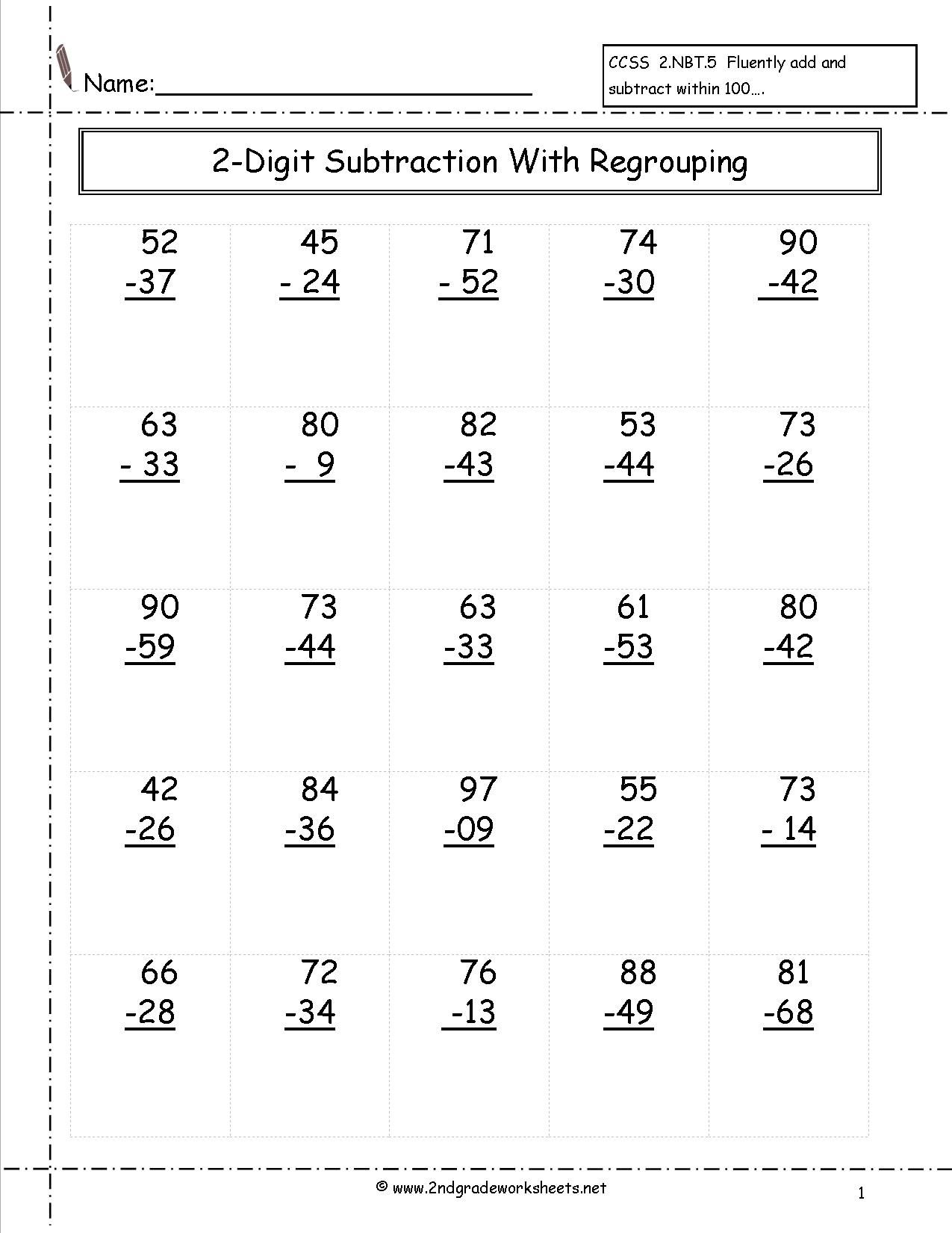 two digit subtraction worksheets Math subtraction