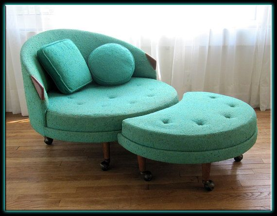 Adrian Pearsall 1717 RC Round Chair W/ Ottoman Orig. Upholstery Turquoise  Green