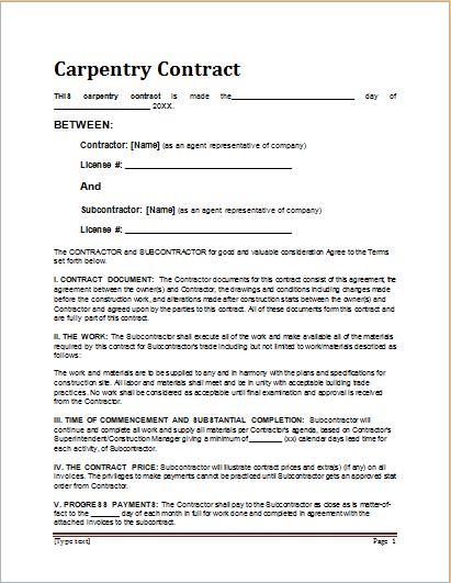 cabinetmaking contract template free sample templates carpenter resume samples australia - Carpenter Resume Objective Samples