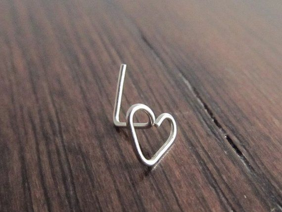 This item is unavailable  22 Gauge Stainless Steel Nose Ring  LBend Nose Ring  Heart Nostril Piercing  Nose Jewelry  Hea