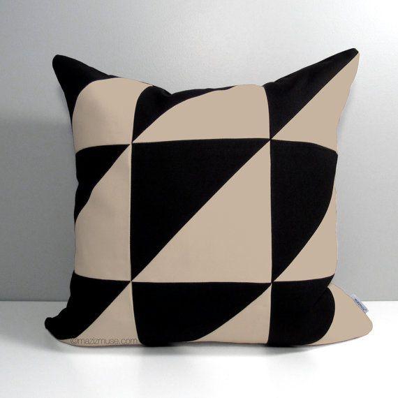 Modern Geometric Outdoor Pillow Cover, Decorative Color Block, Masculine  Colorblock, Black U0026 Antique
