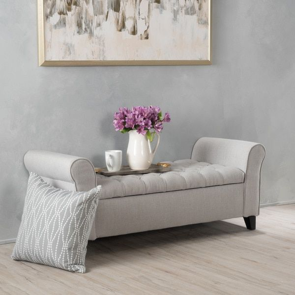 Keiko Tufted Fabric Armed Storage Ottoman Bench By