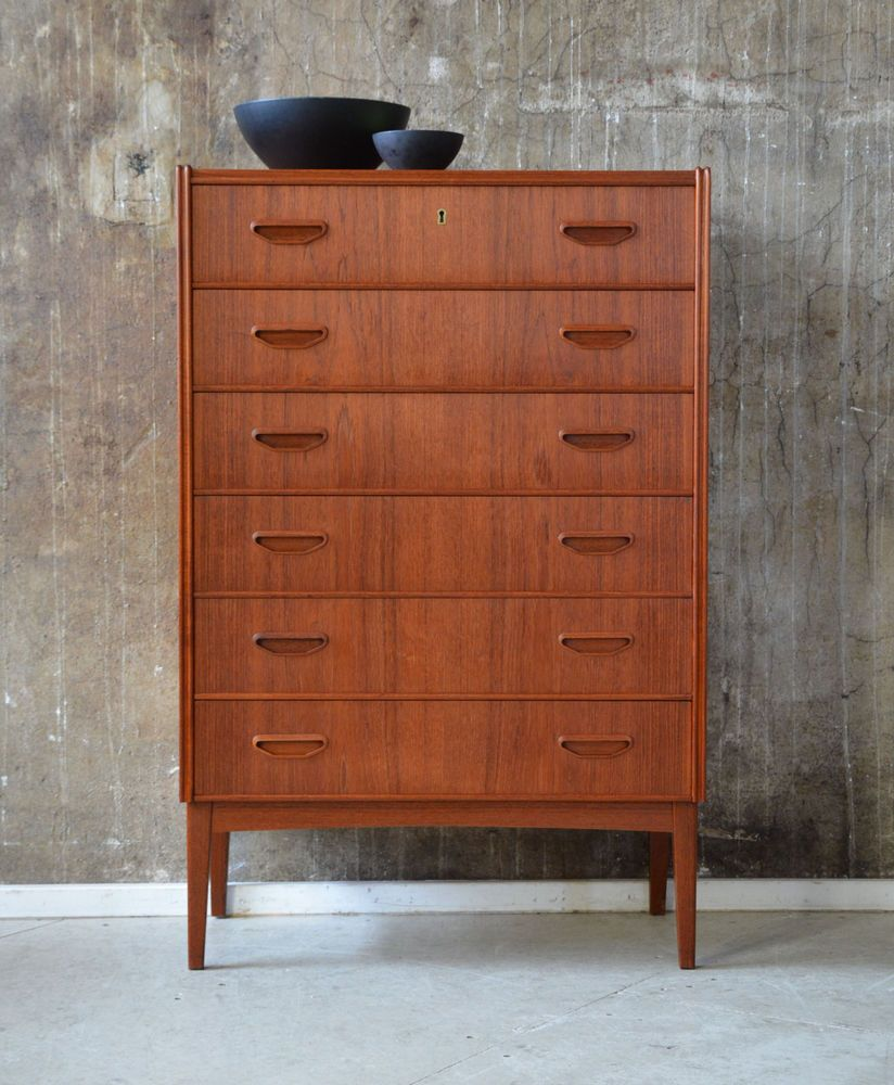 Vintage Kommode Hvid 60er Teak Kommode Highboard Danish Design 60s Cabinet Chest