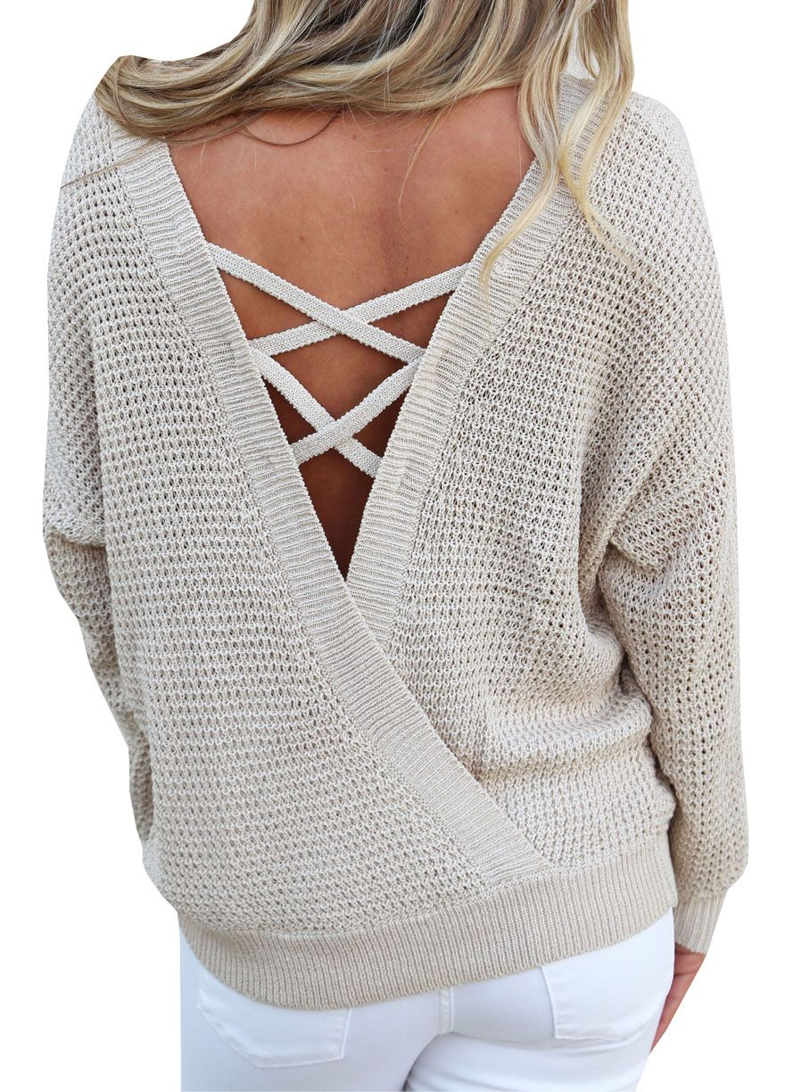 Hollow-Out Back Long Sleeve Sweater Top_Sweaters & Cardigans_Women ...