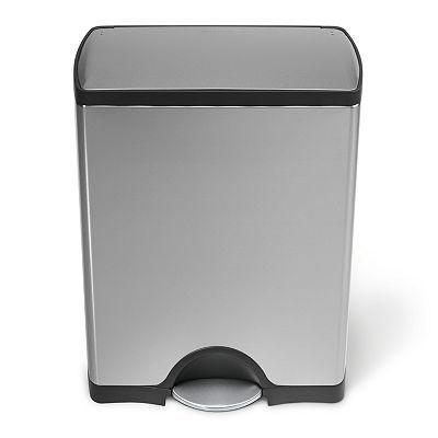 Simplehuman 13 Gallon Rectangular Step Trash Can Trash Can Simplehuman Brushed Stainless Steel Simple human trash can 13 gallon