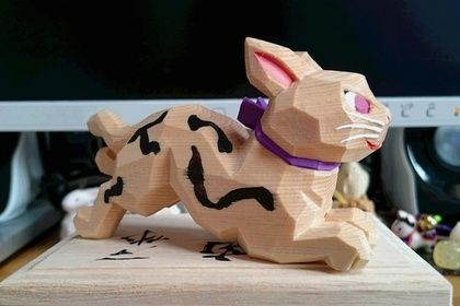 Carved wooden cat