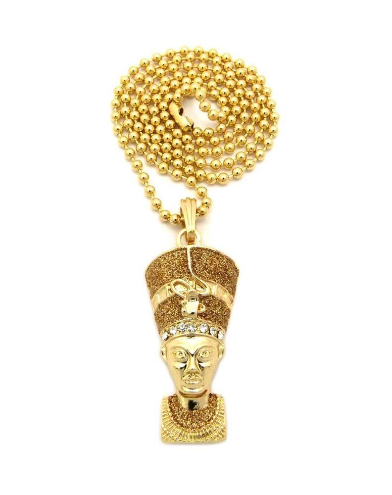 New mini micro egyptian queen nefertiti pendant chain necklace hip new mini micro egyptian queen nefertiti pendant chain necklace hip hop gold chain mozeypictures Choice Image