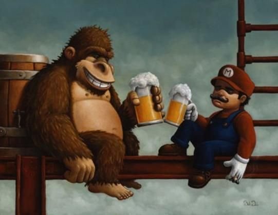 Donkey kong and mario drinking beer donkeykong mario beer