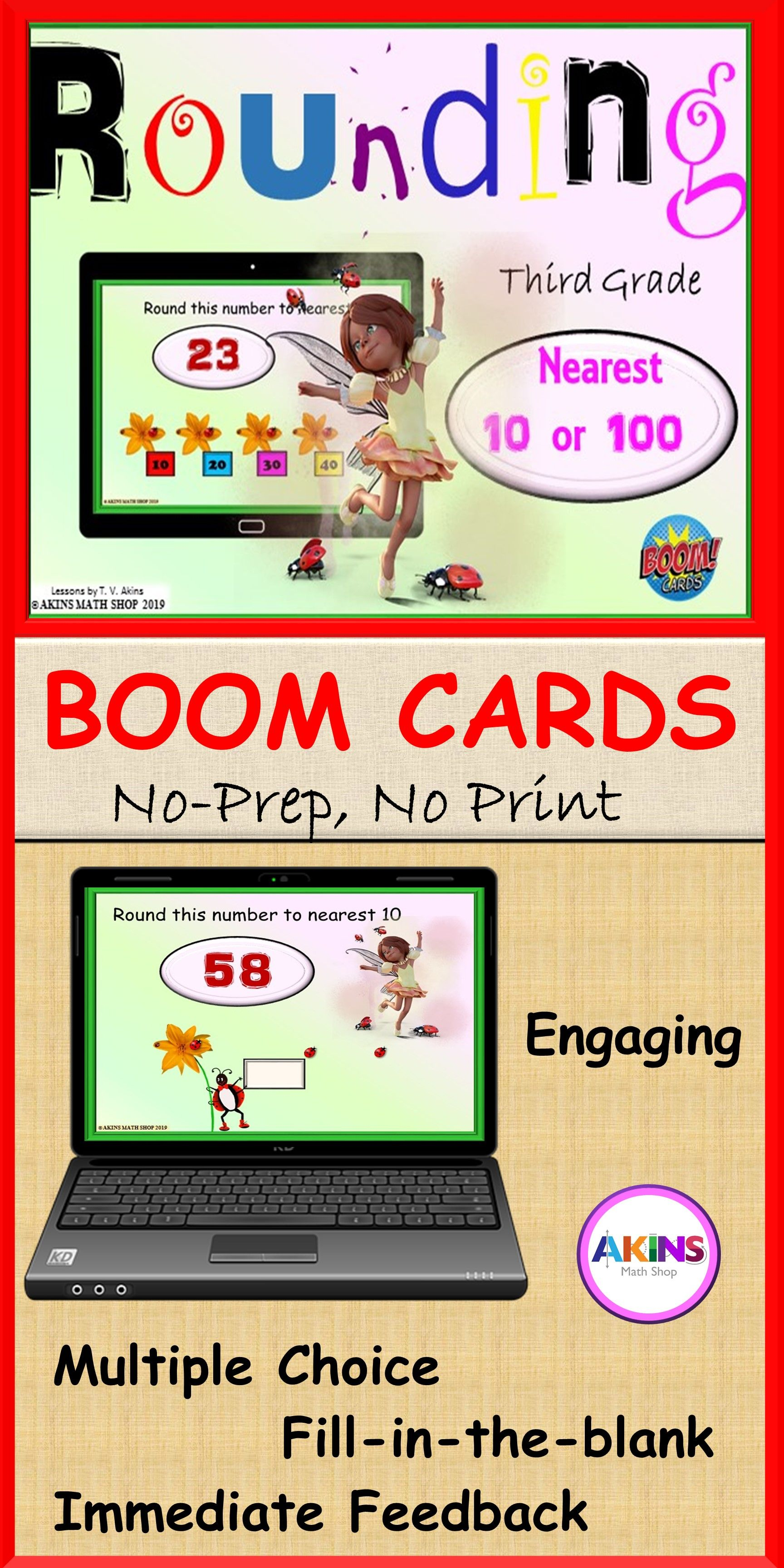 Distance Learning Boom Cards Third Grade Rounding In