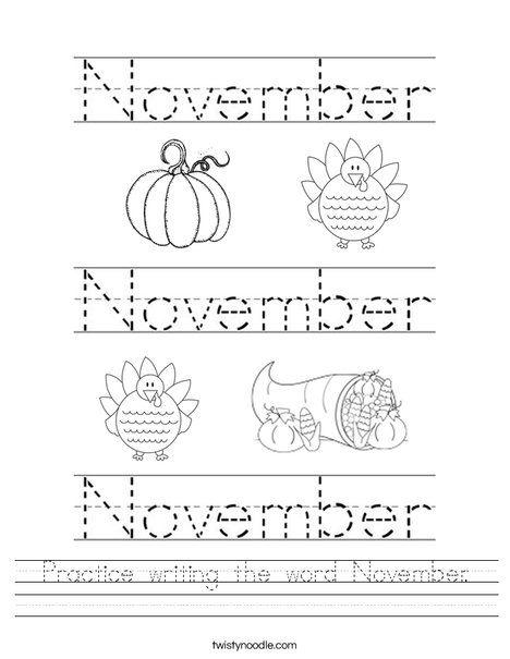 practice writing the word november worksheet twisty noodle curriculum pinterest. Black Bedroom Furniture Sets. Home Design Ideas
