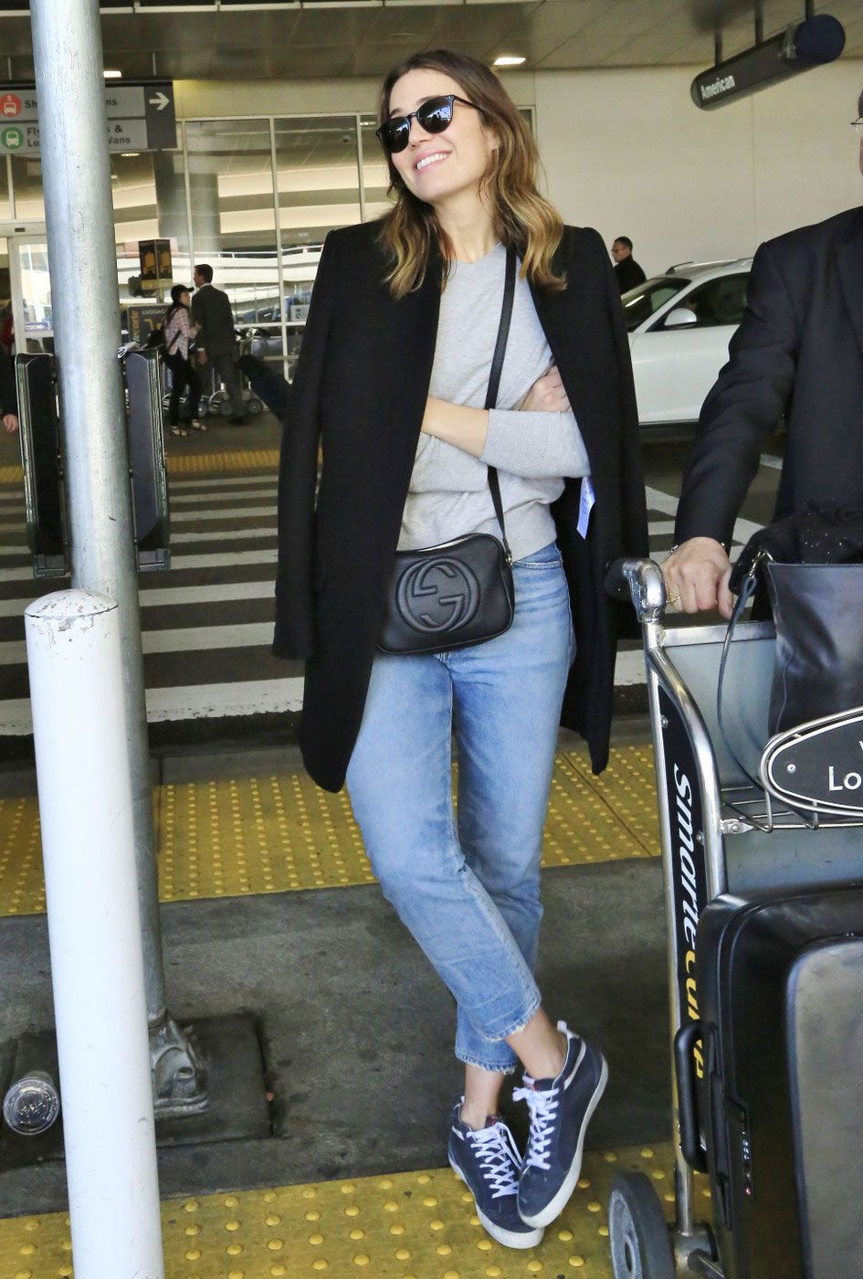 Mandy Moore s Grey Sweater and Gucci Crossbody Bag Look for Less ... bde3a3ef3a3