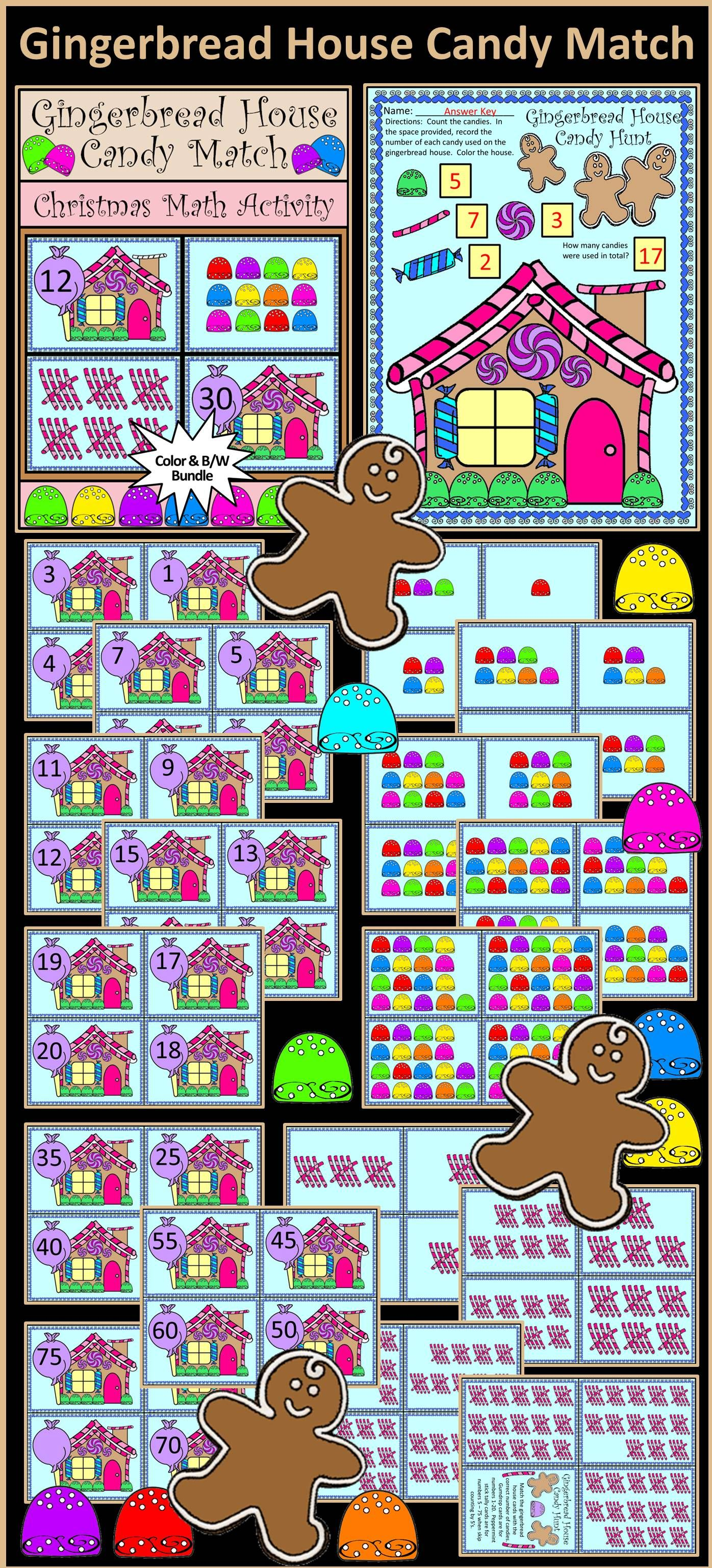 Christmas Activities: Gingerbread House Candy Match Christmas Math ...