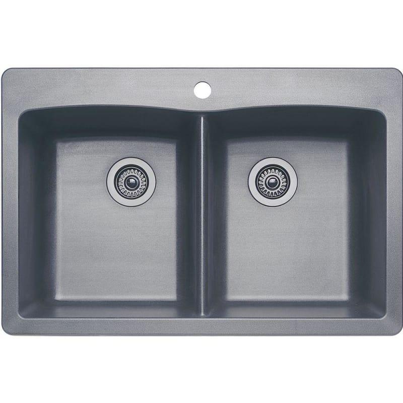 Blanco 440219 Diamond 33 Silgranit Granite Composite Drop In Or Undermount Equa Metallic Gray Fixture Kitchen Sink Sink Double Bowl Kitchen Sink Kitchen Sink
