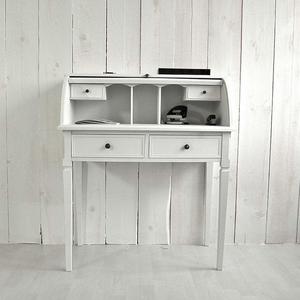 schreibtisch sekret r saint denise holz mdf wei 3 schubladen rolladen schreibtisch. Black Bedroom Furniture Sets. Home Design Ideas