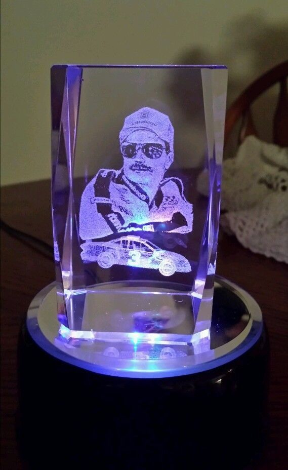 6be9db8f744 Dale Earnhardt Sr Laser Etched Crystal 3D Paperweight Block Glass ...