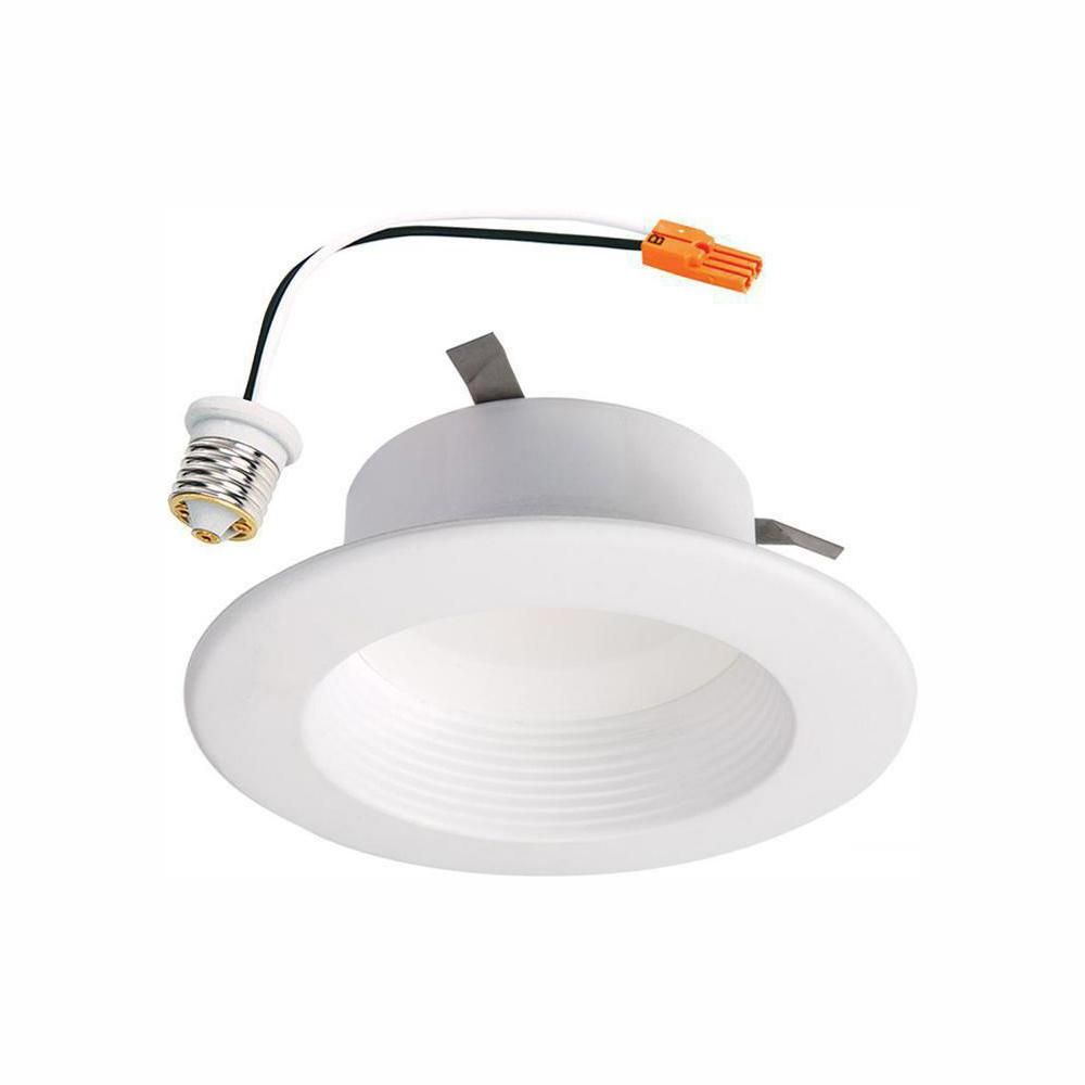 Halo Rl4 Series 4 In Soft White Selectable Cct Integrated Led Recessed Light With Retrofit Baffle White Trim Rl4069s1ewhr The Home Depot Led Recessed Ceiling Lights Recessed Ceiling Ceiling Lights Led can light trim