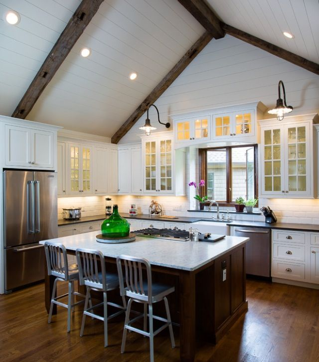 big open kitchen with tall ceilings vaulted ceiling kitchen farmhouse kitchen cabinets on kitchen cabinets vaulted ceiling id=49454