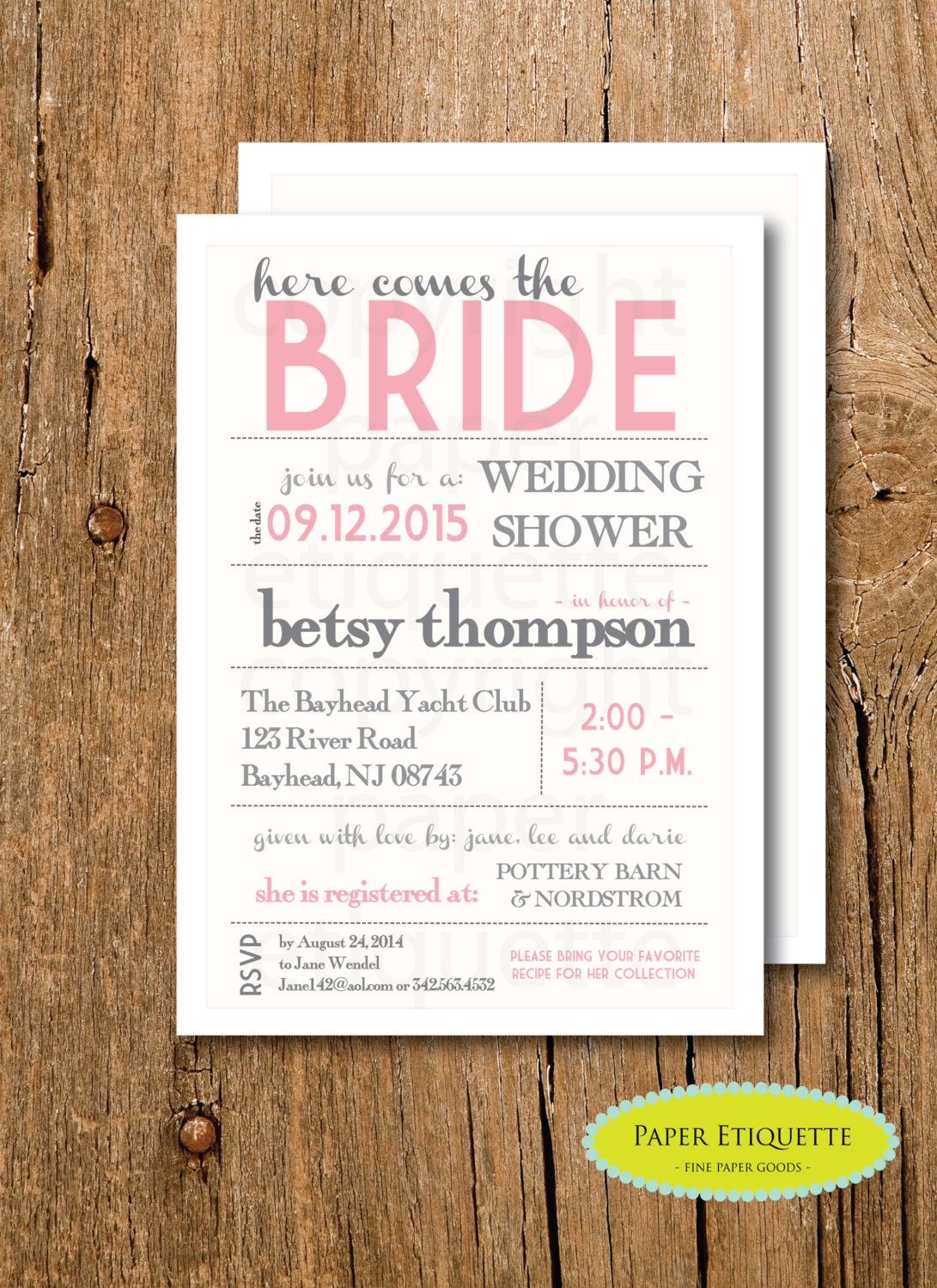 Here Comes The Bride Pink Ivory And Gray Bridal Shower Invitation