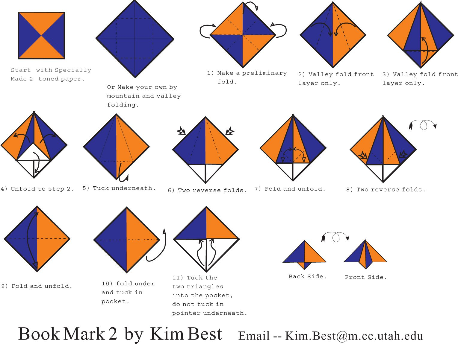 Origami Corner Bookmark Instructions