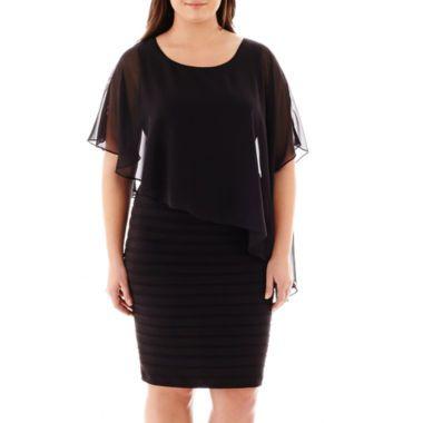 da52cc19 Scarlett Elbow-Sleeve Cape Dress - Plus found at @JCPenney | Dresses ...