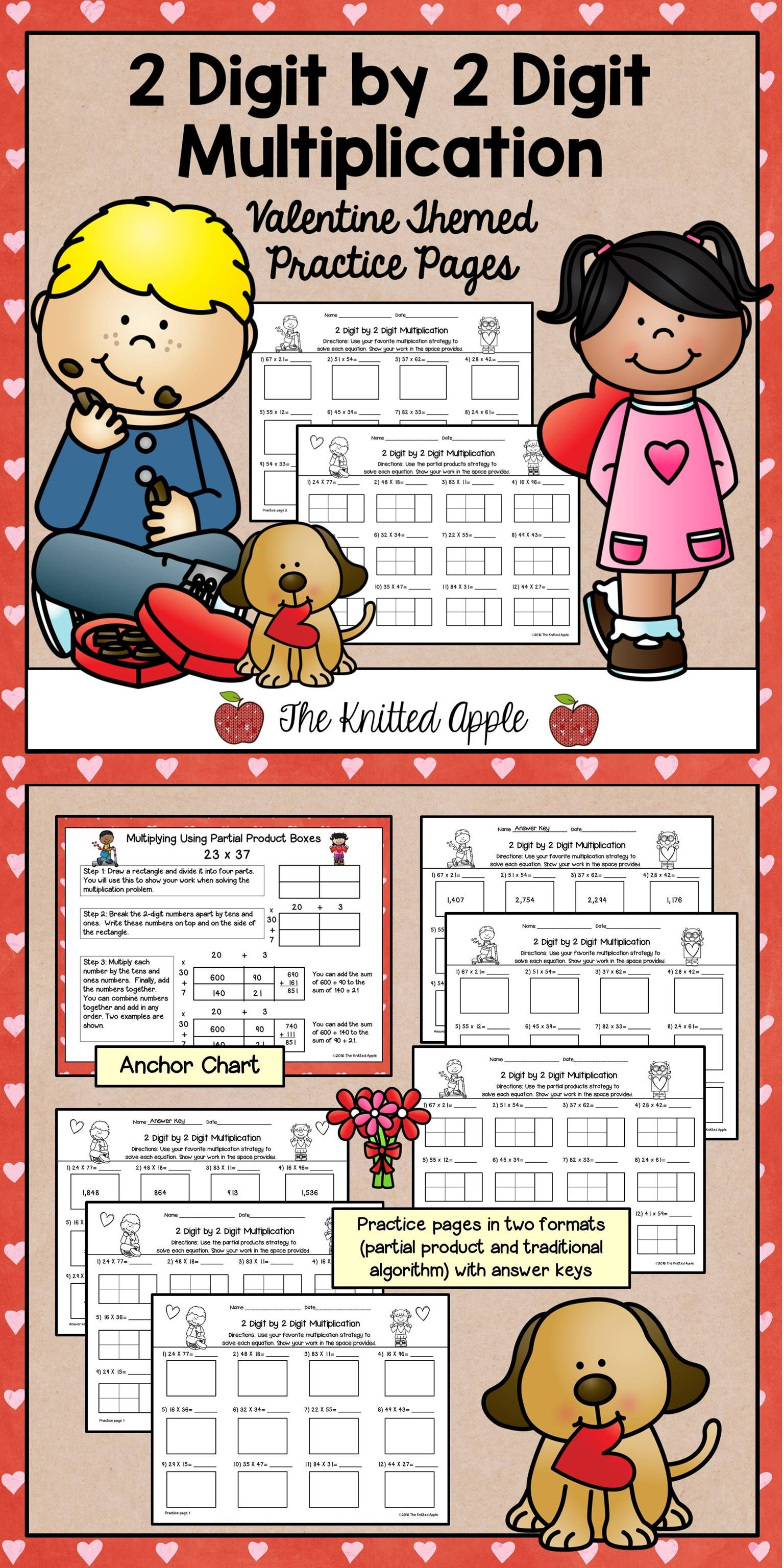 Freebie 2 Digit By 2 Digit Multiplication Pages In A Valentine Theme Each Page Comes In Two