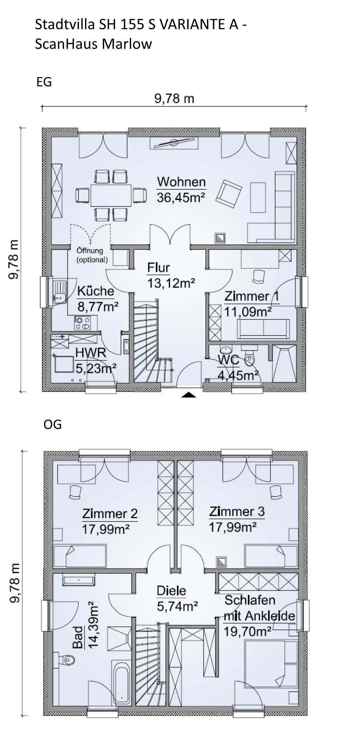 Fertighaus Stadtvilla Grundriss quadratisch mit Zeltdach