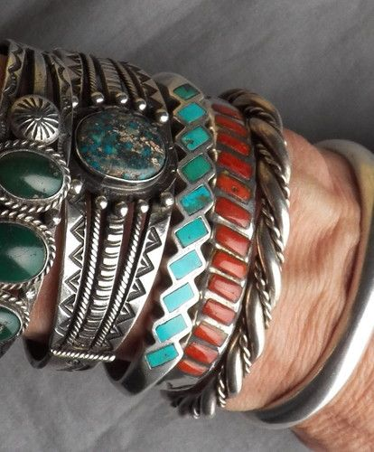 Vintage Native American Indian Silver Turquoise Inlay Cuff Bracelet |