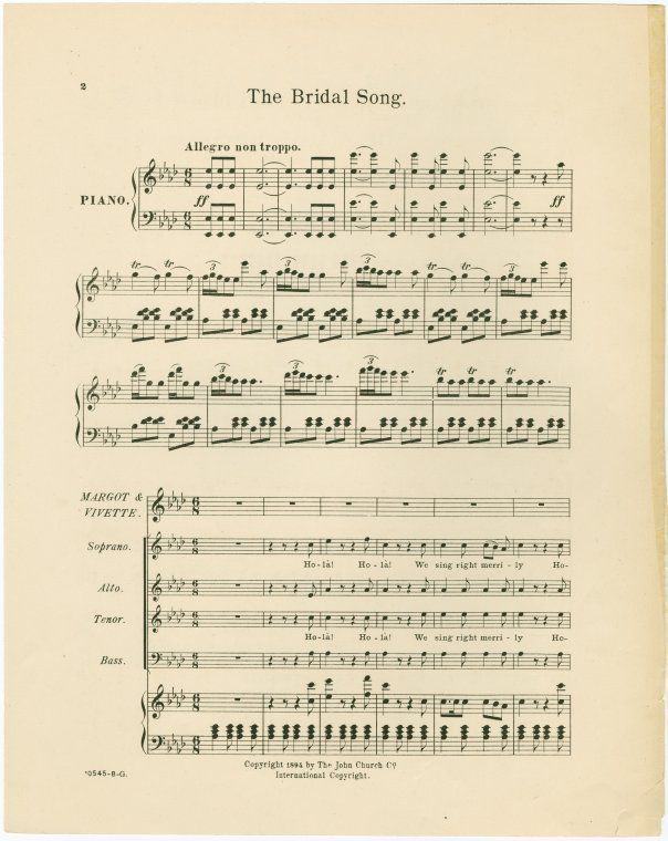 The Bridal Song By Julian Edwards 1894 Weddings Pinterest