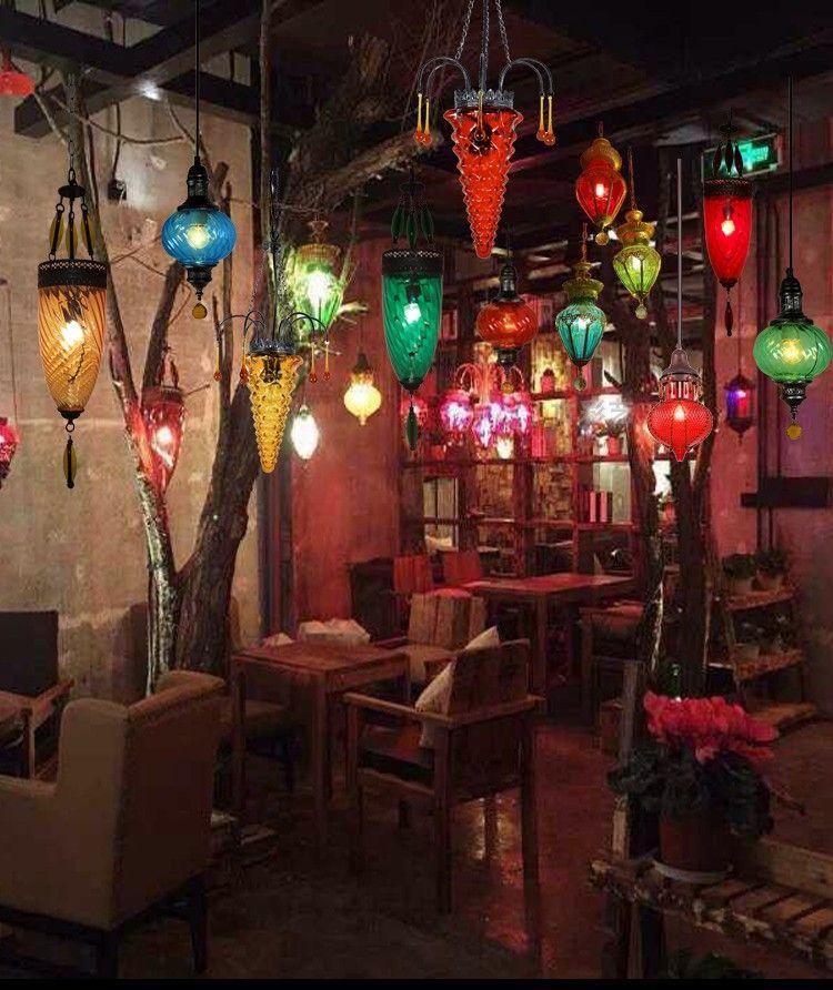 淘宝��e9�m���\�_漫咖啡水晶飘窗土耳其地中海波西米亚风格彩色琉璃单头小吊灯