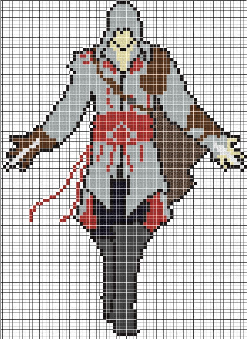 Assassins Creed Minecraft Pixel Art Pixel Art Grid Easy Pixel Art