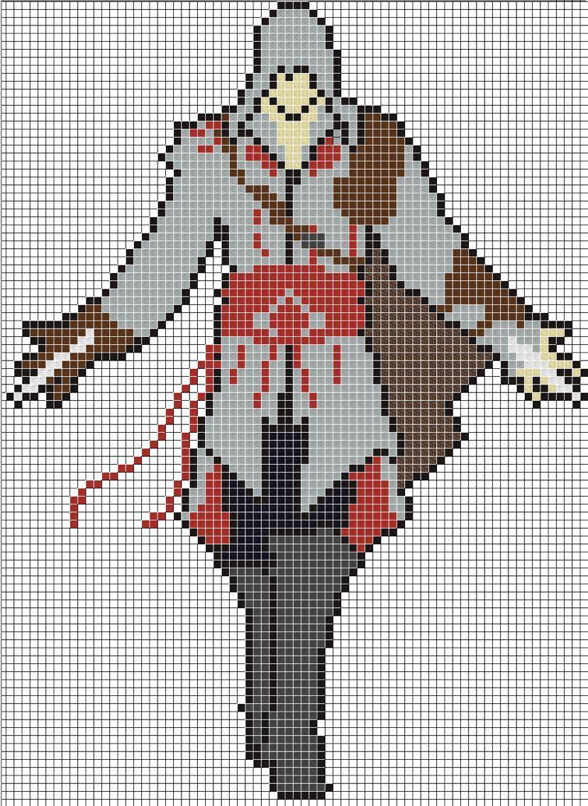 Pixel Art Grid Hard : pixel, Assassins, Creed, Pixel, Grid,, Minecraft
