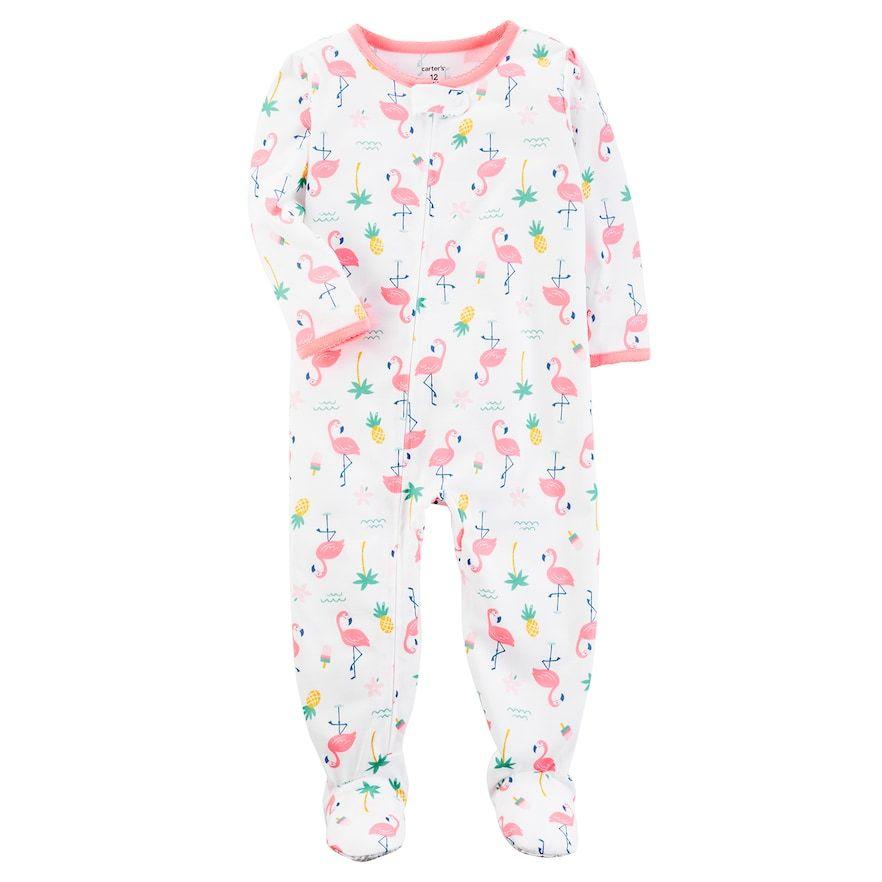 f02ef5012ba5 Baby Girl Carter s Flamingo Print Footed Pajamas