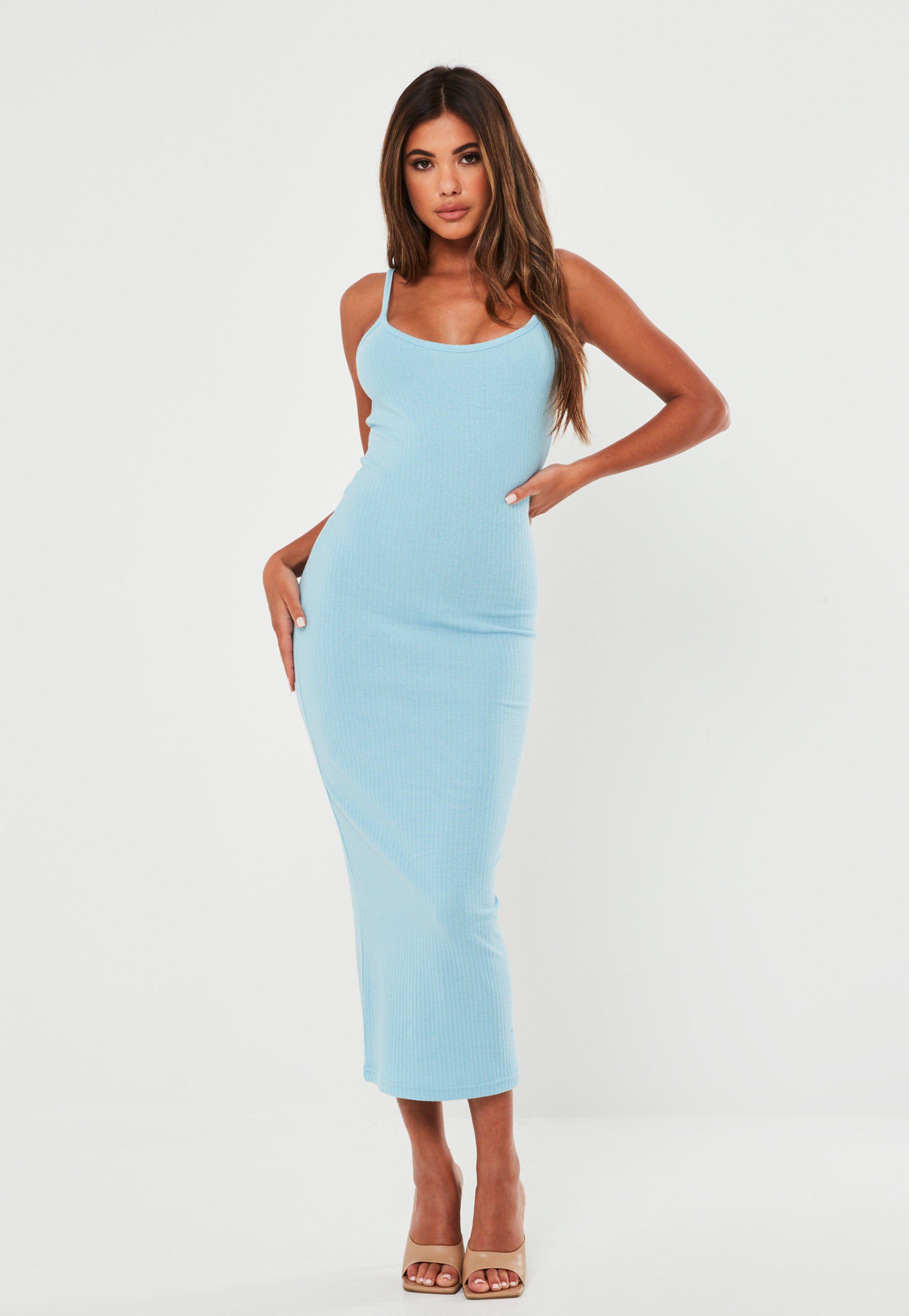 Blue Rib Strappy Midi Dress Sponsored Rib Affiliate Blue Strappy Midi Dress Bodycon Bodycon Fashion Strappy Midi Dress [ 4200 x 2900 Pixel ]