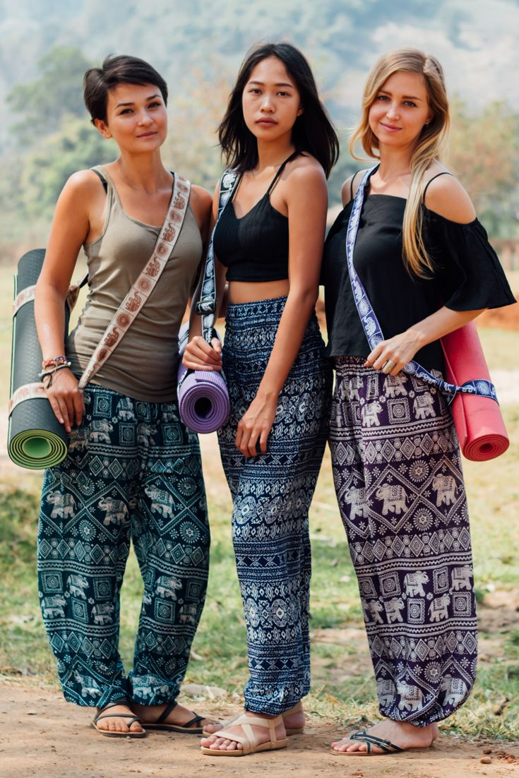 Beautiful Classic Harem Pants Yoga Mat Straps And Elephants Yoga Clothes Boho Boho Yoga Pants Elephant Pants Outfit