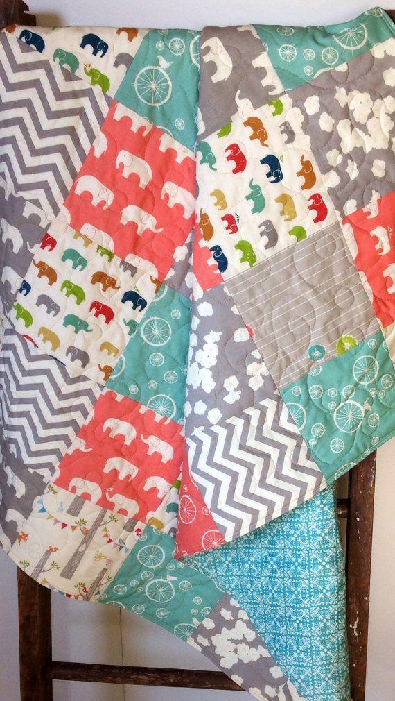 Organic Girl Baby Quilt, Birch Fabrics, Elephants, Ellie Fam, Aqua ... : organic baby quilts - Adamdwight.com