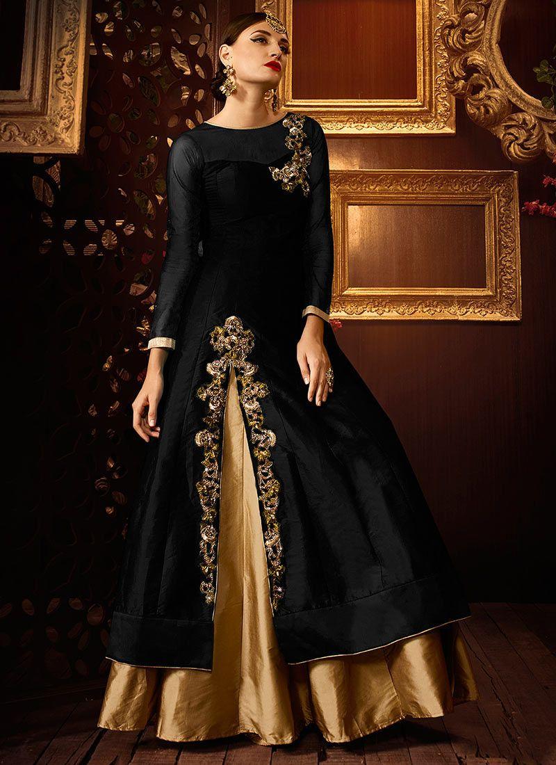 Black Taffeta Silk Umbrella Lehenga Party Wear Lehenga Party Wear Dresses Party Wear