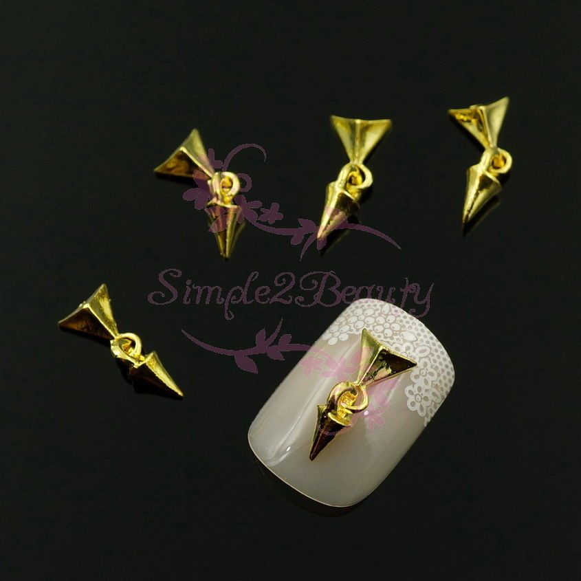 20 Pyramid Bullet Cone Spike Dangle Style Nail Art Alloy Charms Punk ...