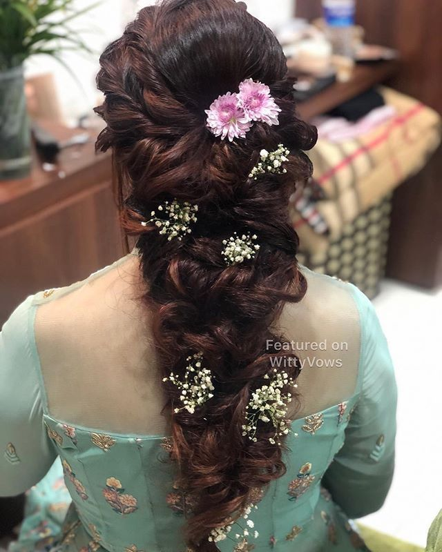 "WittyVows on Instagram: ""With this pretty braid, our day is made 💗✨🌸 love these curled braid hairstyles for the engagement and mehendi day, after all they look…"""