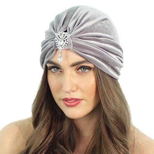 595c698ffce Velvet Great Gatsby Crystal Stretch Turban Headband Headwrap Ear Warmer Hat