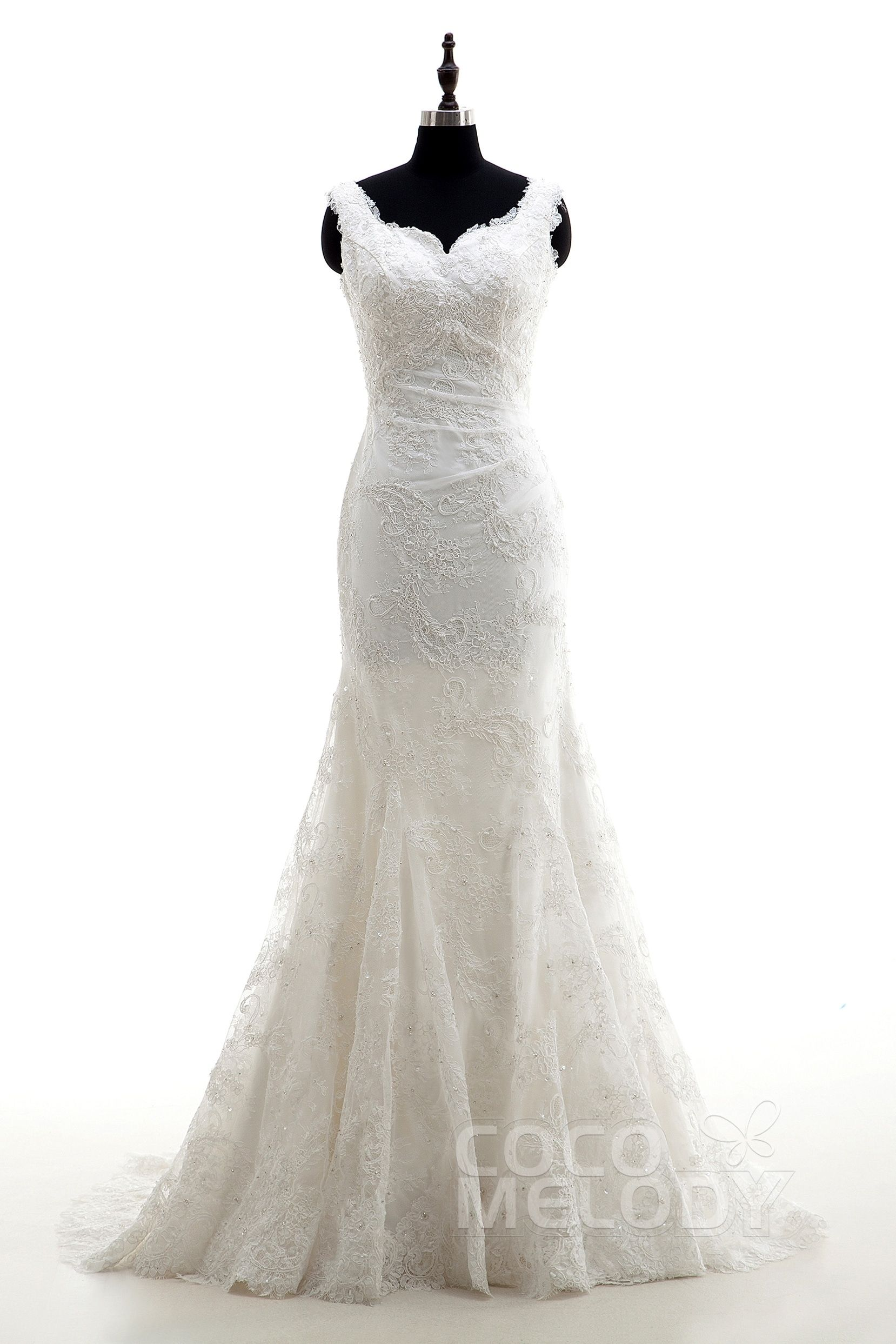 d9dada3e161a Queenly+Trumpet-Mermaid+Straps+Natural+Court+Train+Lace+Sleeveless+Open+Back +Wedding+Dress+Beading+LD3991