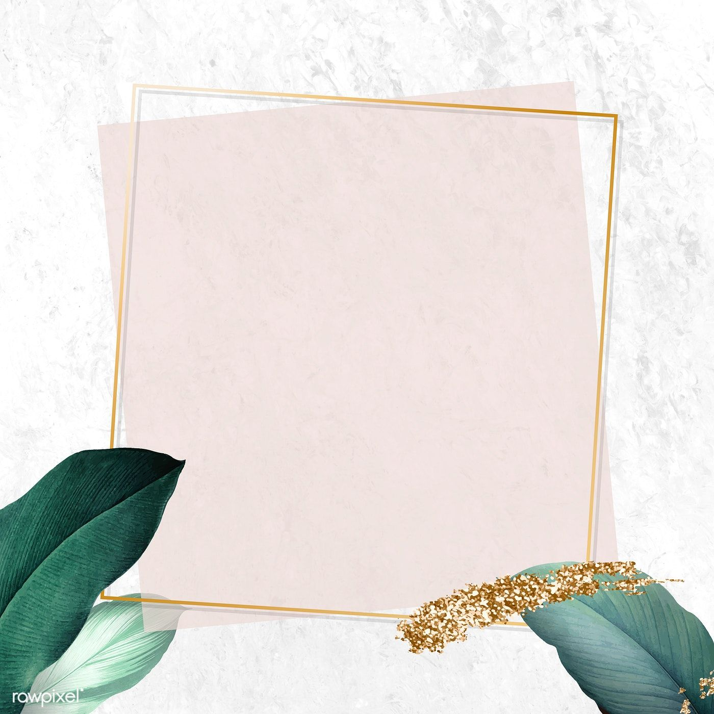 Leafy giveaway frame social media banner vector with shimmering gold tint | premium image by rawpixel.com / NingZk V.