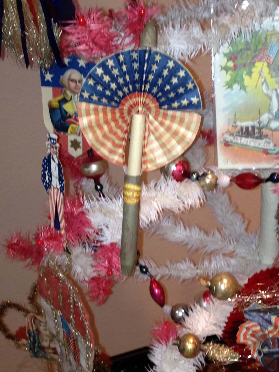Patriotic decorated, white feather Christmas tree | Golden Glow of ...