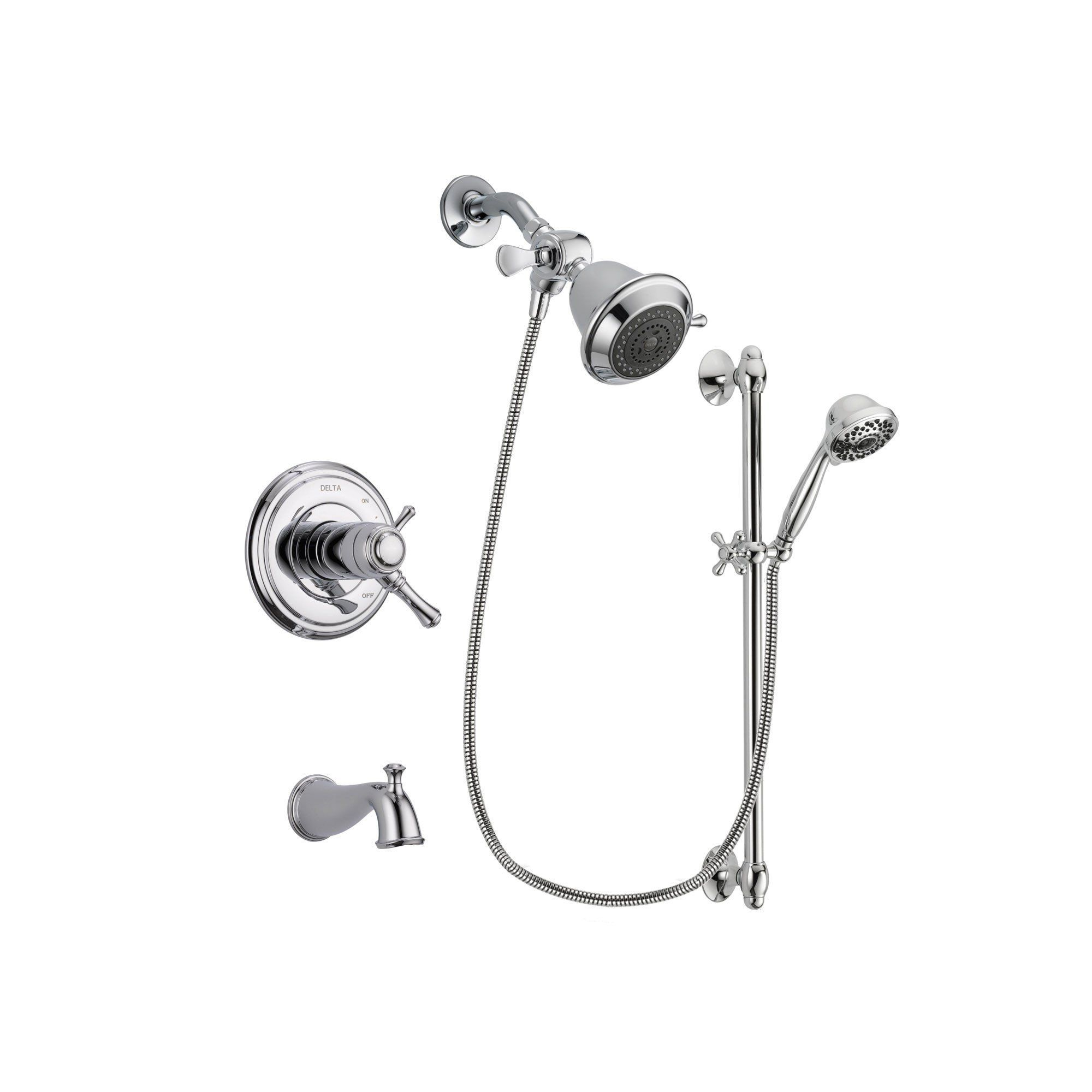 dual shower head bar. delta trinsic chrome finish dual control tub and shower faucet system package with inch head handheld sprayer slide bar includes