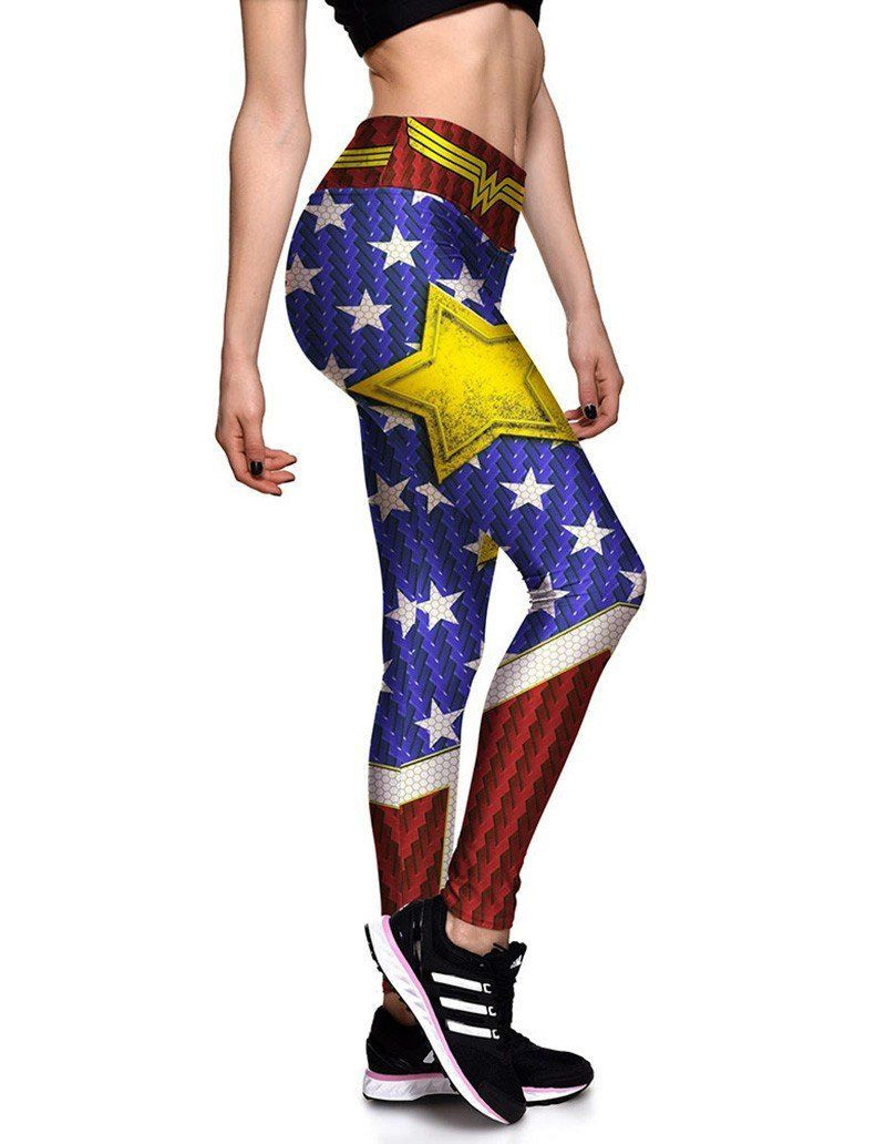 161f6eb873c2fb Wonder Woman Stars Printed Womens Workout Running Tights Leggings ...