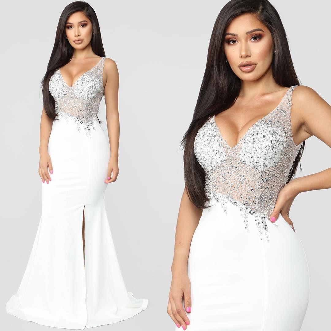 Shop This Instagram From Fashionnova Fashion Nova White Dress Embellished Gown Beautiful Dresses