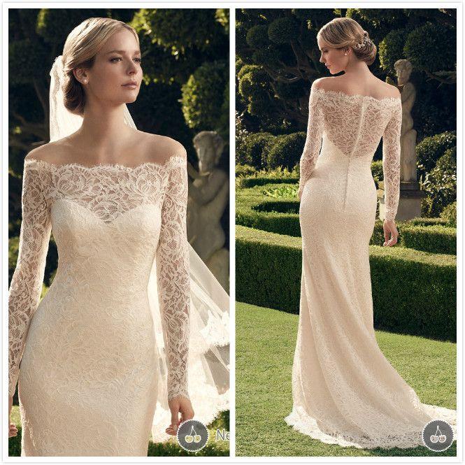 Vestido-De-Casamento-Off-The-Shoulder-With-Veil-Mermaid-Lace-Winter ...