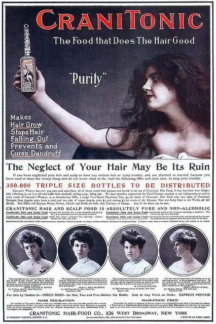 Advertisement for CraniTonic Hair-Food, 1903.