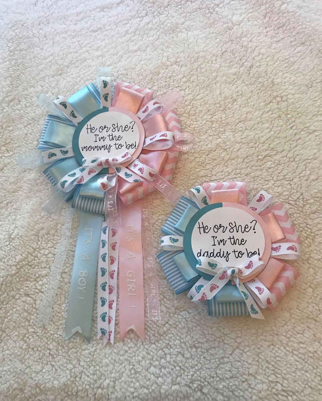 Large Gender Reveal Ribbon Corsage Mommy To Be Daddy To Be